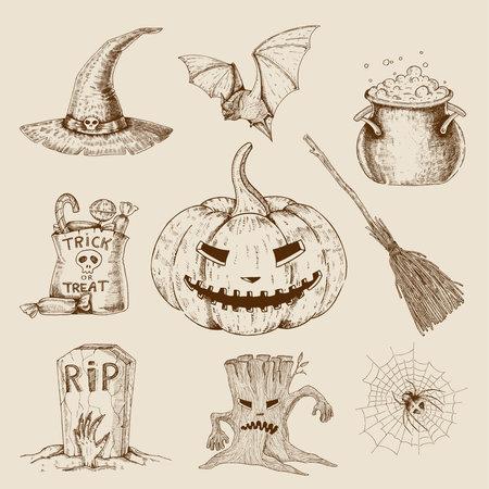 Halloween hand drawn set with lantern of jack sack of candies cauldron broom isolated monochrome vector illustration