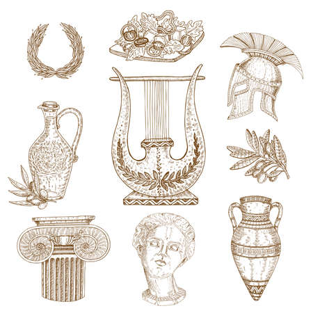 Set of nine isolated drawn greece ancient decorative images with elements of classic architecture and vessels vector illustration Vector Illustration