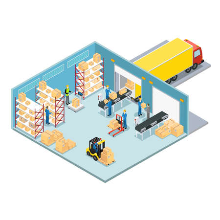 Warehouse isometric composition with working process of loading and unloading the goods and then send the truck vector illustration
