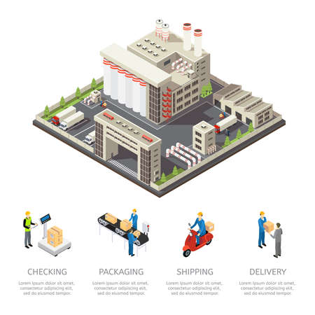 Colored factory isometric composition with checking packaging shipping and delivery descriptions vector illustration