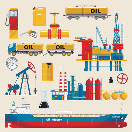 Oil industry decorative icons set with extractive sea platform ship and railway tank pipeline isolated vector illustration Векторная Иллюстрация