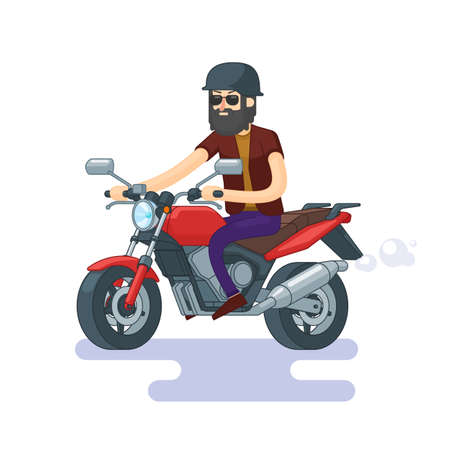 Colorful classic motorcycle concept with bearded man in helmet and sunglasses in flat style vector illustration