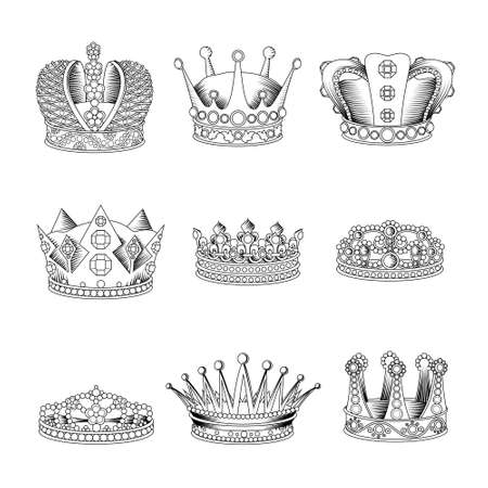Black and white realistic isolated crown sketch icon set for men and women vector illustration