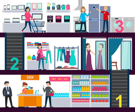 Shopping center infographic template with people in grocery clothing and hardware stores vector illustration