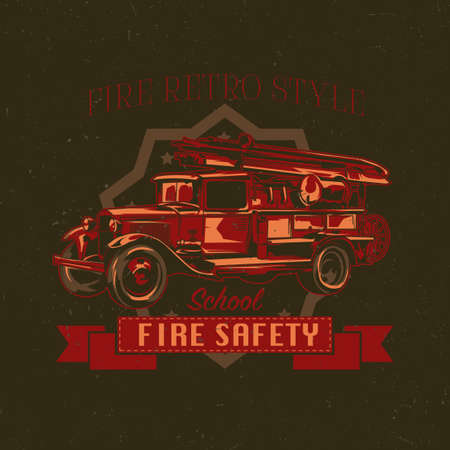 T-shirt label design with illustration of vintage fire truck. Hand drawn illustration.