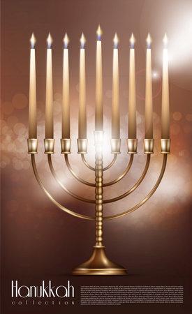 Realistic Happy Hanukkah concept with burning candles in menorah on blurred background isolated vector illustration Vektoros illusztráció