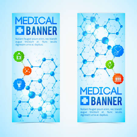 Medicine and aid vertical banners set with healthcare symbols realistic isolated vector illustration