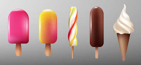 Realistic ice cream collection with eskimo glaze caramel sweet products on stick and sundae isolated vector illustration