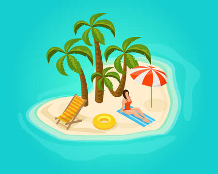 Isometric island vacation concept with woman sunbathing palm trees recliners umbrella lifebuoy on beach in heart shape vector illustration