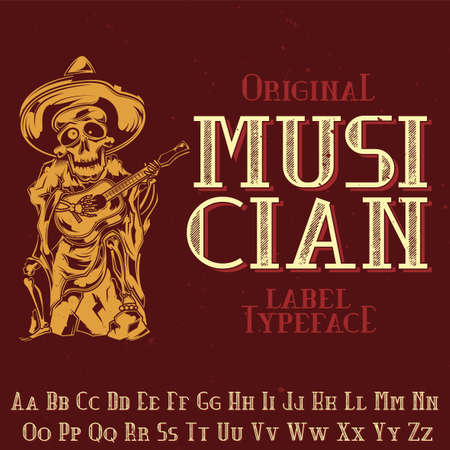 Original label typeface named 'Musician'. Good to use in any label design. Vetores