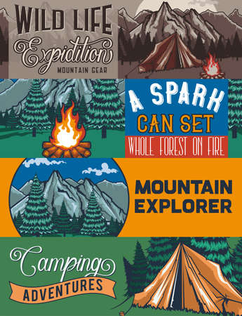 Web banner template with illustrations of a tant, campfire, forest and rocks. Vektoros illusztráció