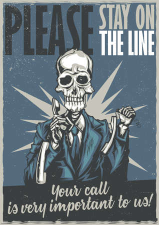 T-shirt or poster design with illustraion of dead call center operator