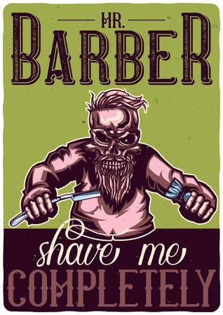 T-shirt or poster design with illustration of a skeleton barber.
