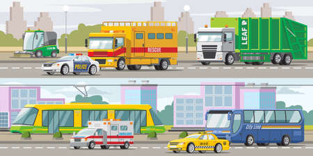 City transport horizontal banners with police taxi ambulance cars sweeper bus tram garbage and rescue trucks vector illustration