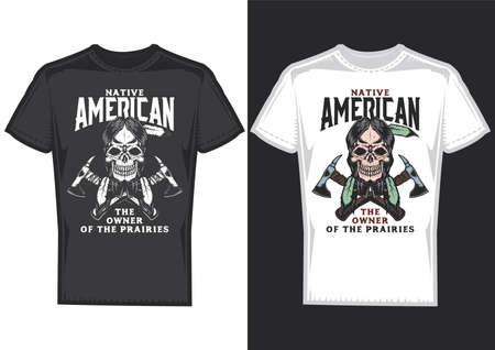 T-shirt design on 2 t-shirts with posters of native americans. Vektoros illusztráció