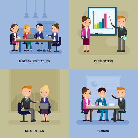 Business negotiation flat template with people at meeting brainstorming conference and training vector illustration