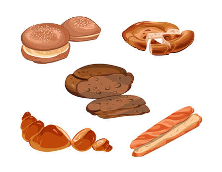 Colorful sliced fresh baking products collection with baguette croissant rye and danish bread isolated vector illustration
