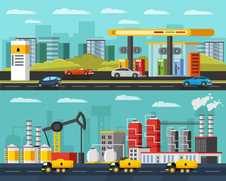 Oil industry horizontal banners with petroleum extraction manufacturing transportation gas station and cars vector illustration