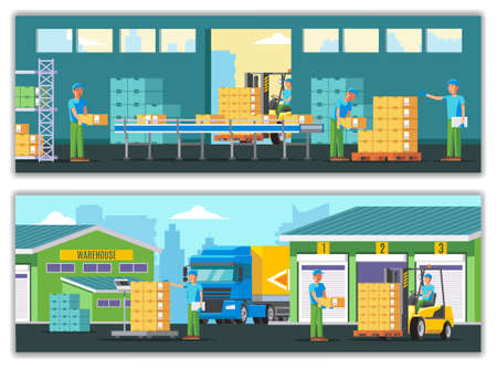 Warehouse horizontal banners with workers truck goods storage processes of loading and transportation vector illustration