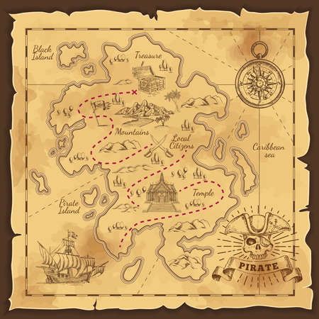 Treasure map and pirate emblem sailboat compass and crossed sabers on yellowed paper hand drawn vector illustration
