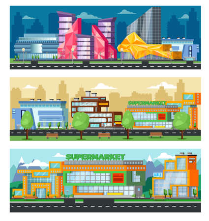 Shopping mall horizontal banners with cityscape of trade centers stores and supermarkets vector illustration