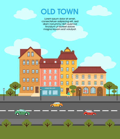 Colorful flat urban landscape template with different buildings cars on road trees and walking woman vector illustration Vettoriali