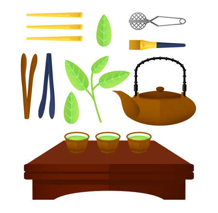 Flat chinese tea elements set with teapot bowls on table green leaves and traditional accessories isolated vector illustration