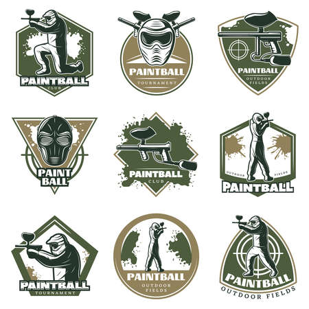Colorful vintage active leisure emblems set with paintball ammunition weapons masks aims and players isolated vector illustration