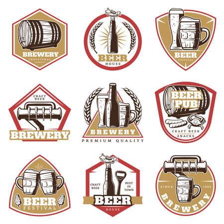 Colorful vintage beer emblems set with glasses mugs bottle tap wooden barrel opener snacks isolated vector illustration