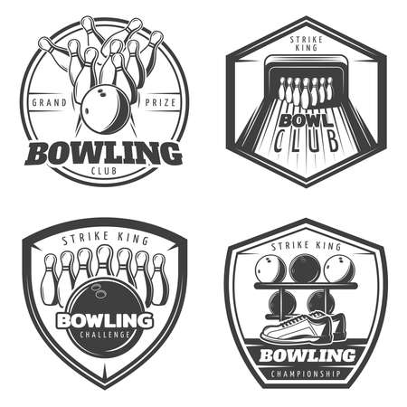 Vintage monochrome active recreation emblems set for bowling club with sport equipment isolated vector illustration