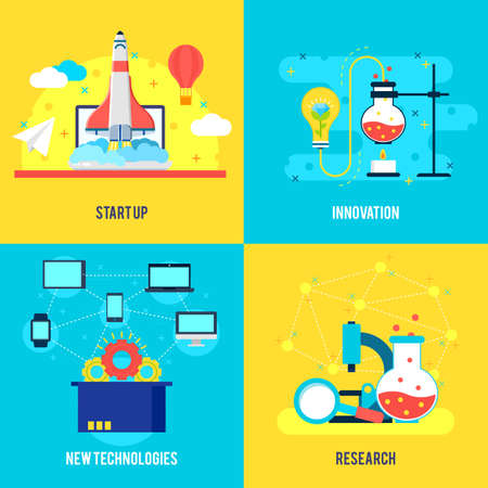 Business development flat composition with rocket launch innovative technologies and scientific experiments vector illustration