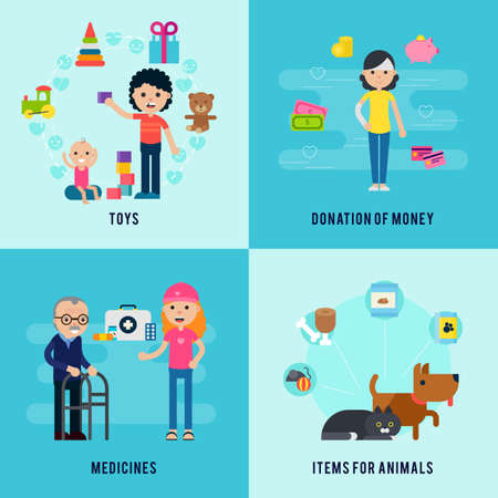 Charity flat concept with support and help to children old people and animals vector illustration