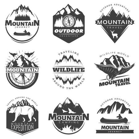 Vintage mountains logos set for camping tourism on white background isolated vector illustration