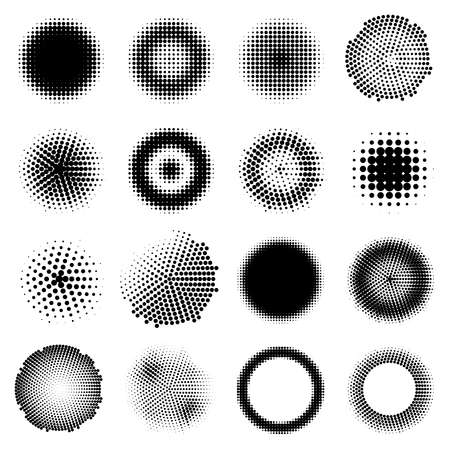 Monochrome halftone effects circles set with different dotted round shapes isolated vector illustration