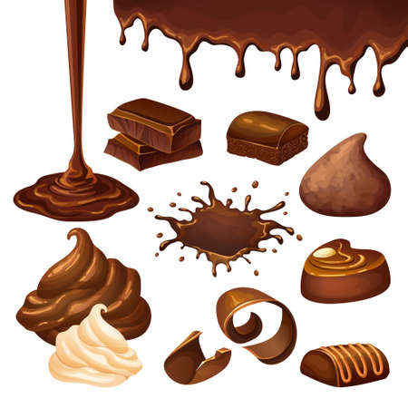 Cartoon chocolate elements set with blot drop whipped cream shavings candies pieces nut isolated vector illustration Vector Illustration