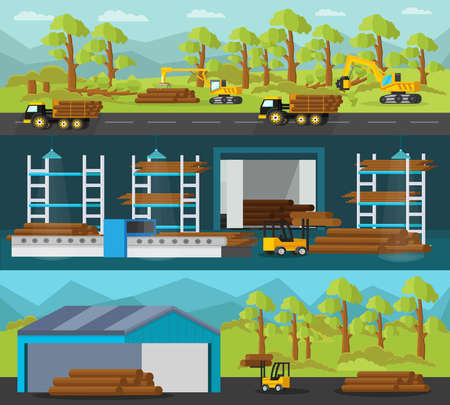 Timber production horizontal banners with industrial vehicles and processes of cutting loading transportation woodworking and logs storage vector illustration
