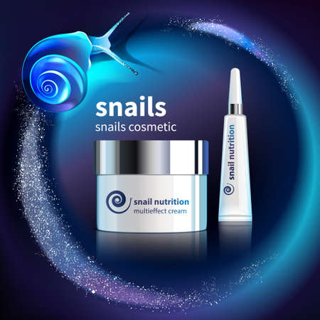 Snails cosmetic advertising template with realistic packages of skincare products on glitter background vector illustration