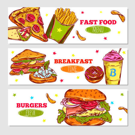 Fast food sketch horizontal banners with pizza french fries cake donut and burger vector illustration