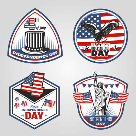 Colored vintage Independence Day emblems set with american flags traditional hat flying eagle Statue of Liberty isolated vector illustration