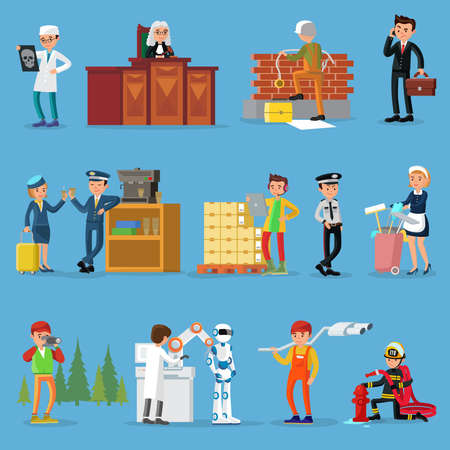 People professions set with doctor judge builder businessman pilot stewardess warehouse worker policeman maid photographer scientist mechanic firefighter isolated vector illustration