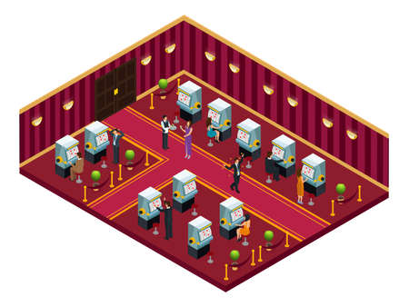 Isometric casino interior room template with people playing slot machines and drinking cocktails vector illustration
