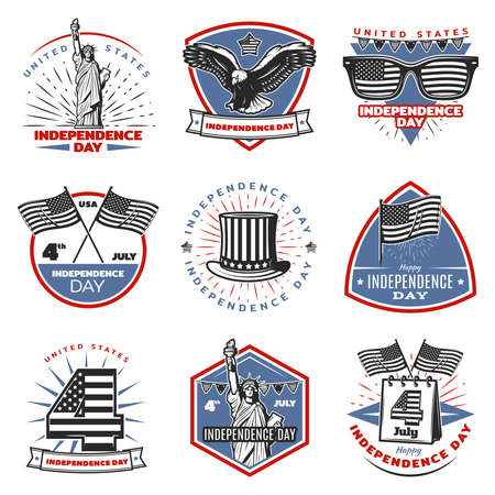 Colored vintage Independence Day emblems set with american traditional festive and national elements and symbols isolated vector illustration