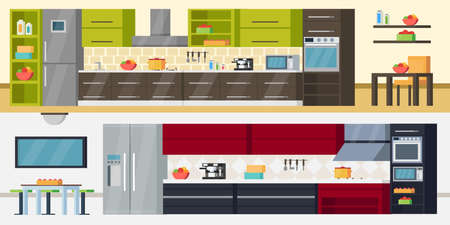 Modern kitchen horizontal banners with furniture appliances and accessories for modern interior design project vector illustration
