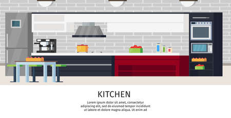 Kitchen interior design composition with sink counter fridge table chair extractor stove and different utensils vector illustration