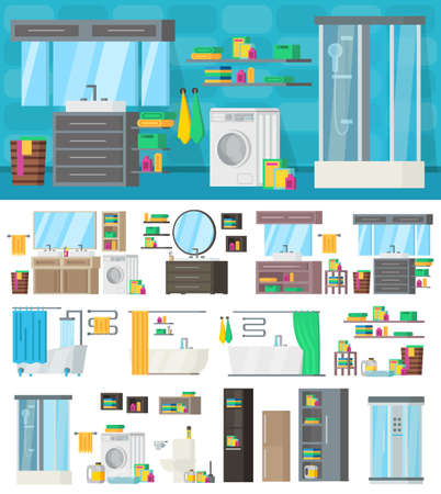 Bathroom interior design template with equipment hygiene accessories tools and furniture vector illustration