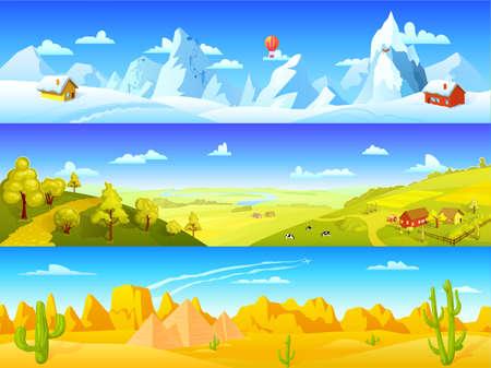 Colorful landscape horizontal banners with winter mountain scene summer farm scenery and desert view vector illustration Vektoros illusztráció