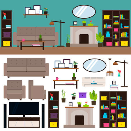 Living room interior elements collection with furniture plants mirror closet cupboard lamps tv fireplace air conditioning isolated vector illustration