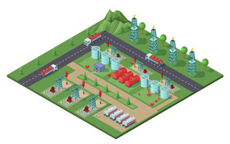 Isometric industrial oil field plant concept with drilling rigs trucks tanks of petroleum electric towers vector illustration Vetores