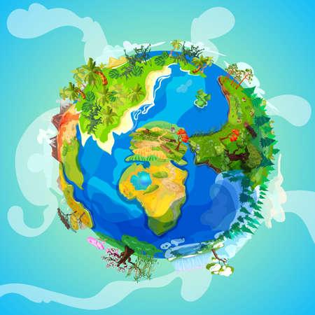 Cartoon Earth planet light concept with trees plants farm volcano ocean landscapes vector illustration