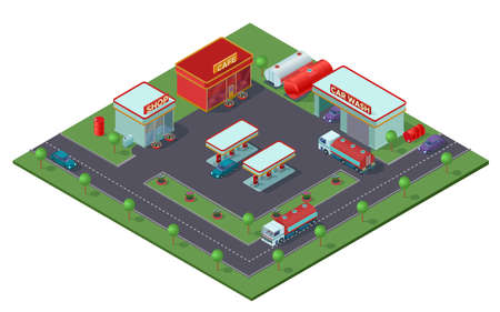 Isometric gas station concept with refueling trucks automobiles shop cafe car washing buildings and barrels of fuel vector illustration